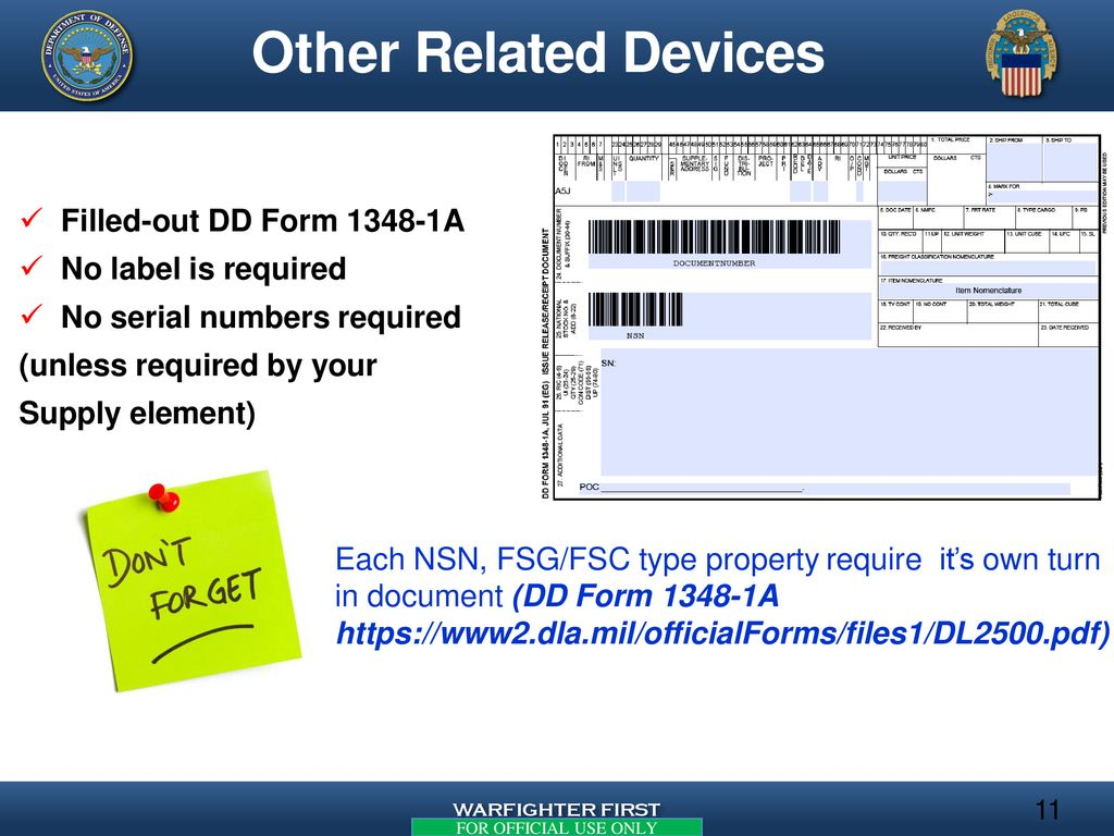 Turn-in Guidance for Disposition of - ppt download on blank da form mil forms, sample dd form 1348, navy dd form 1348,