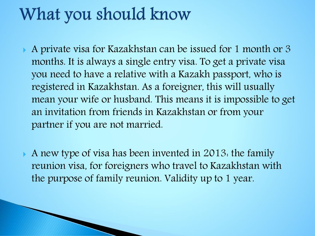 Kazakhstan private visa - ppt download