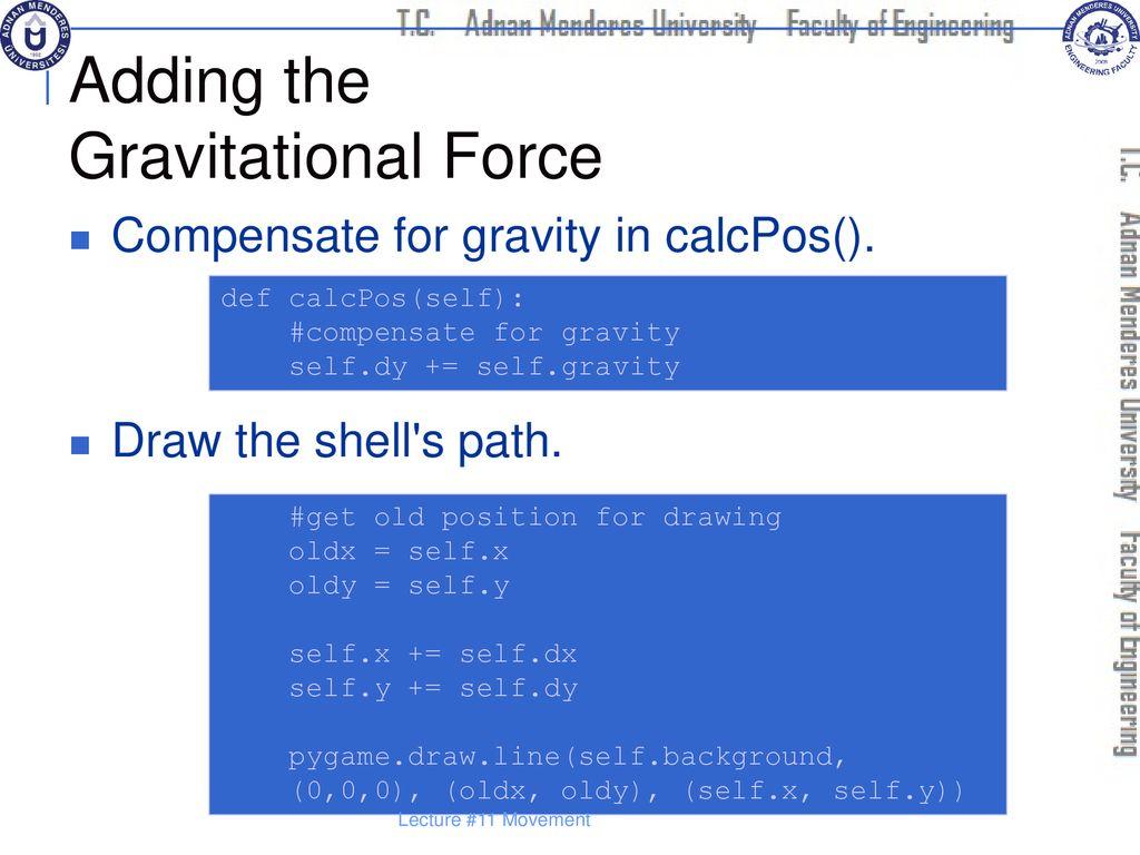Pygame Gravity