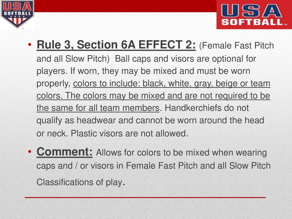 2019 USA Softball Rule Changes Rev 1 - ppt download