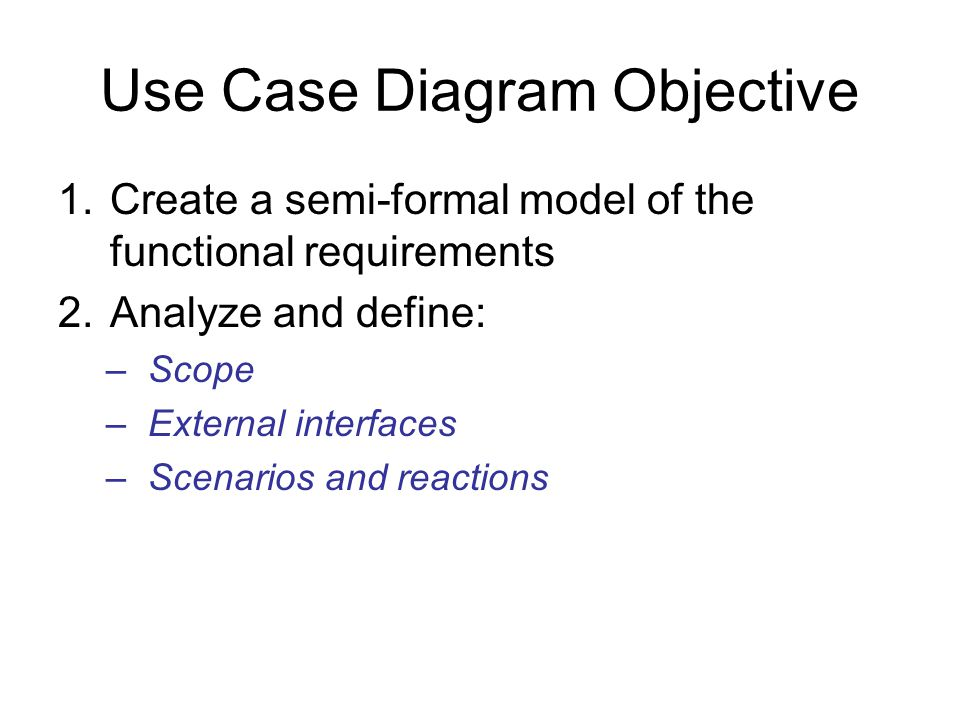 Use Case Diagram Objective