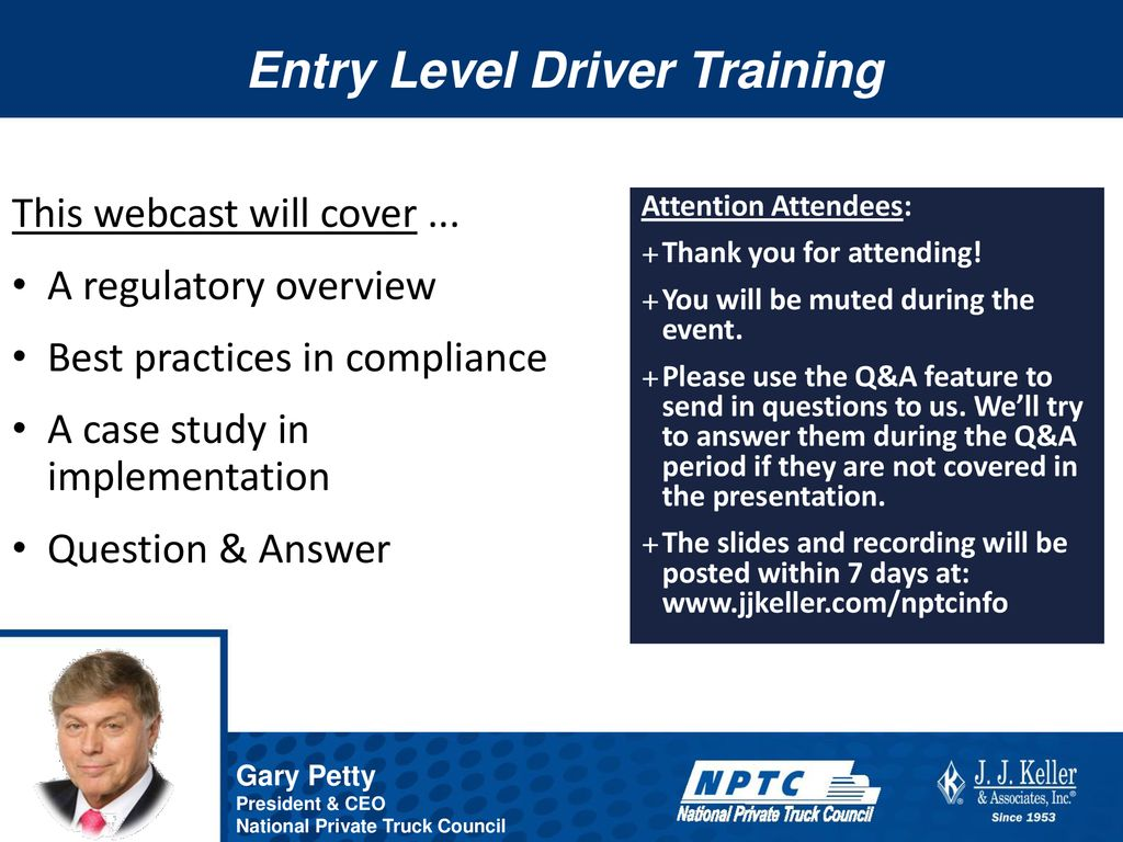 Entry Level Driver Training - ppt download