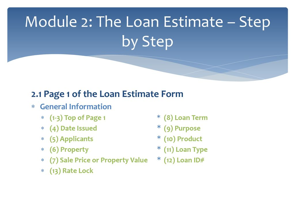 Loan Estimate Page 2 >> Module 2 The Loan Estimate Step By Step Ppt Download