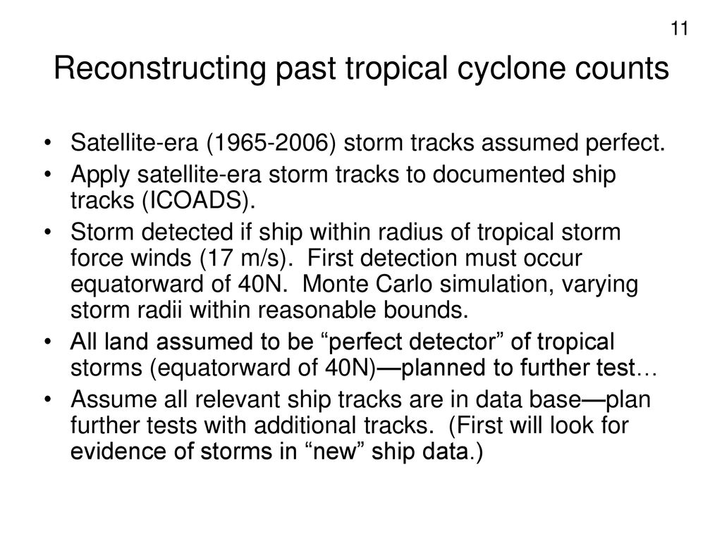 Reconstructing past tropical cyclone counts
