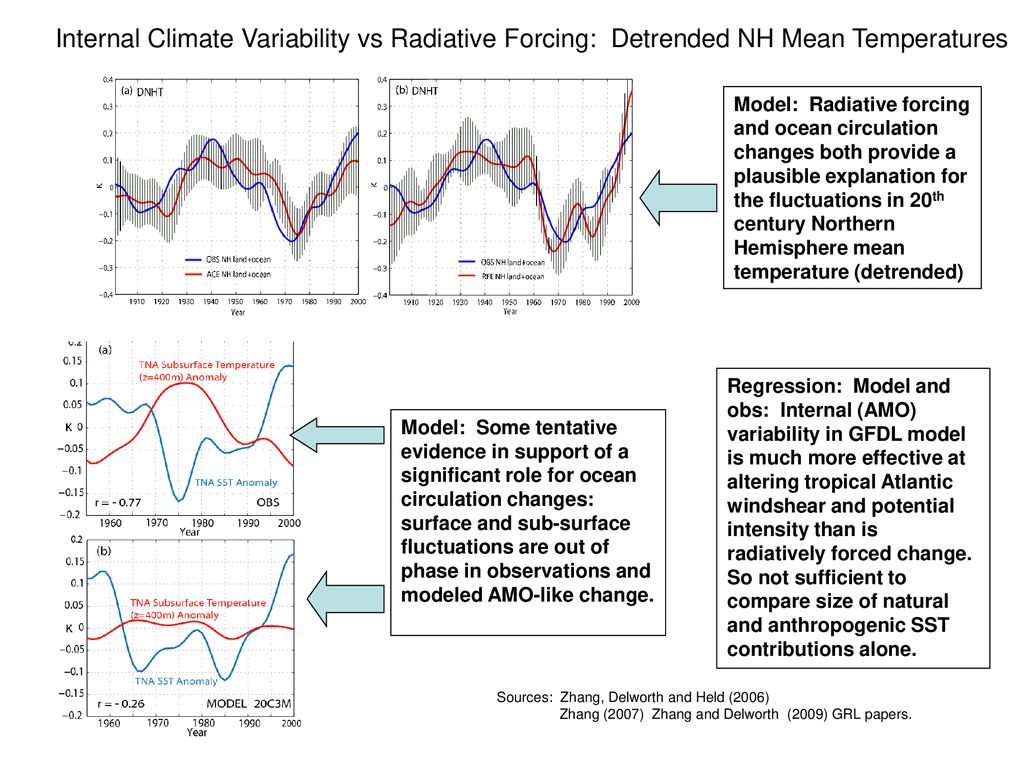 Internal Climate Variability vs Radiative Forcing: Detrended NH Mean Temperatures
