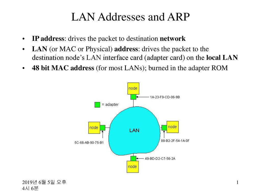 LAN Addresses and ARP IP address: drives the packet to