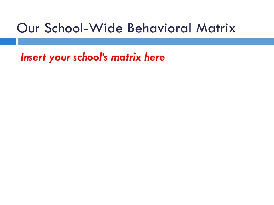Our School-Wide Behavioral Matrix
