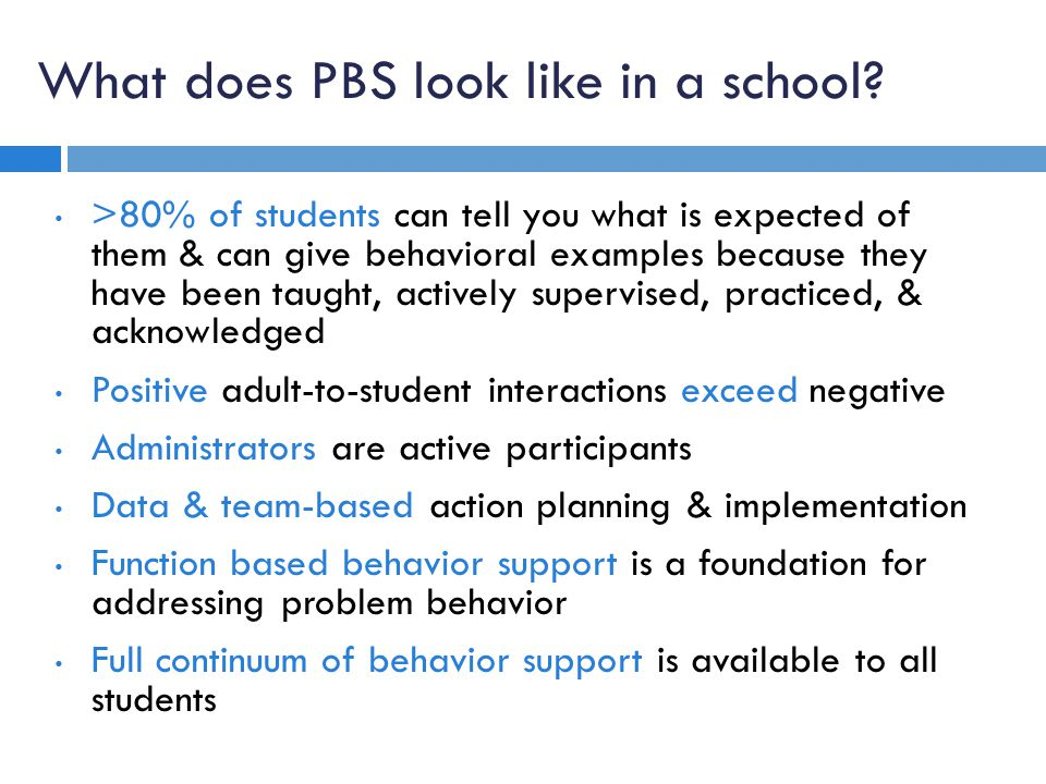 What does PBS look like in a school