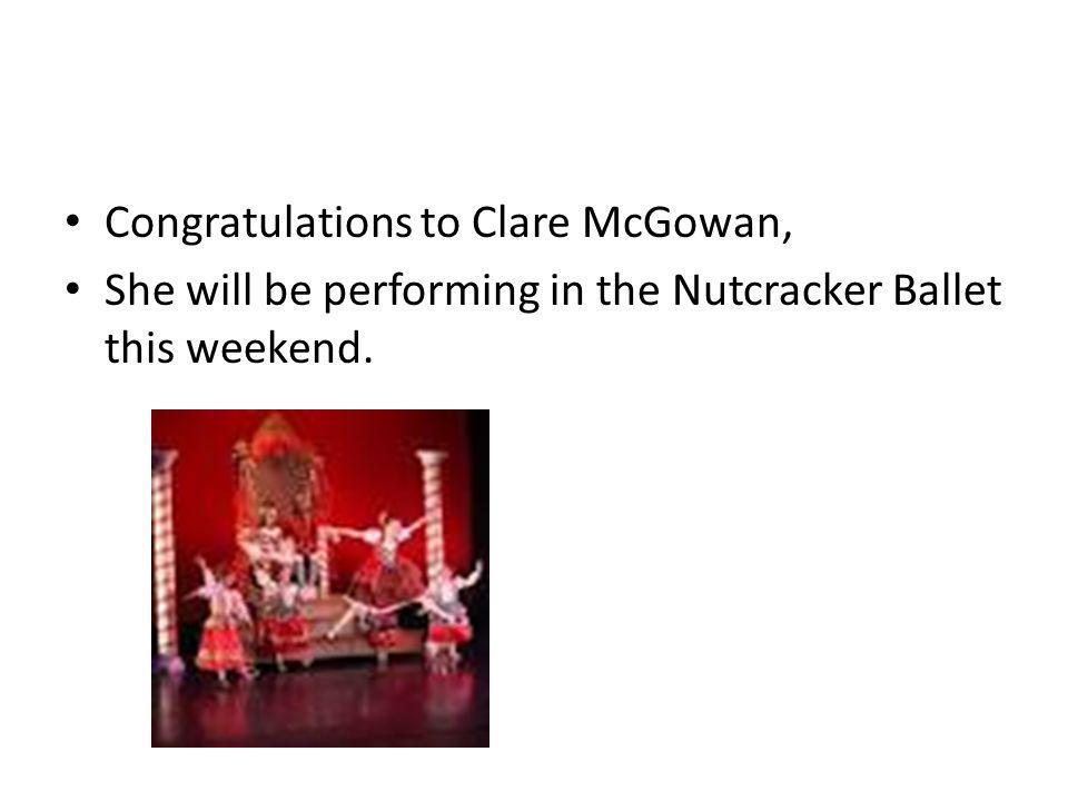 Congratulations to Clare McGowan,