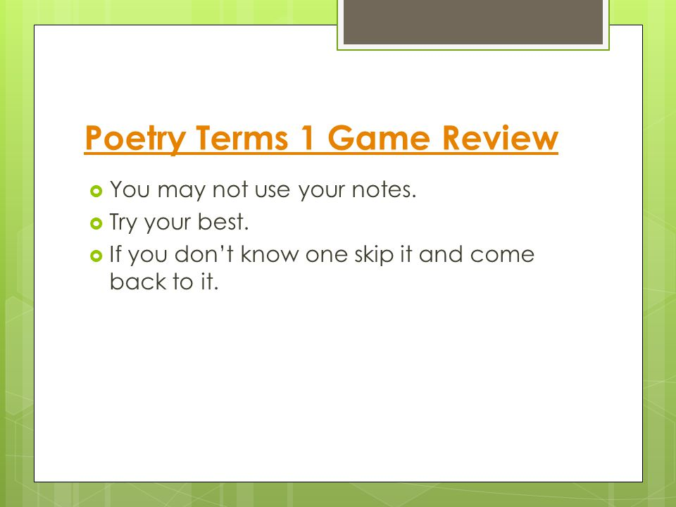 Poetry Terms 1 Game Review