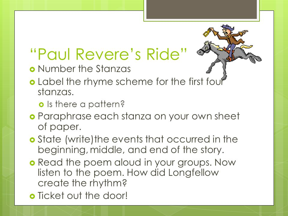 Paul Revere's Ride Number the Stanzas