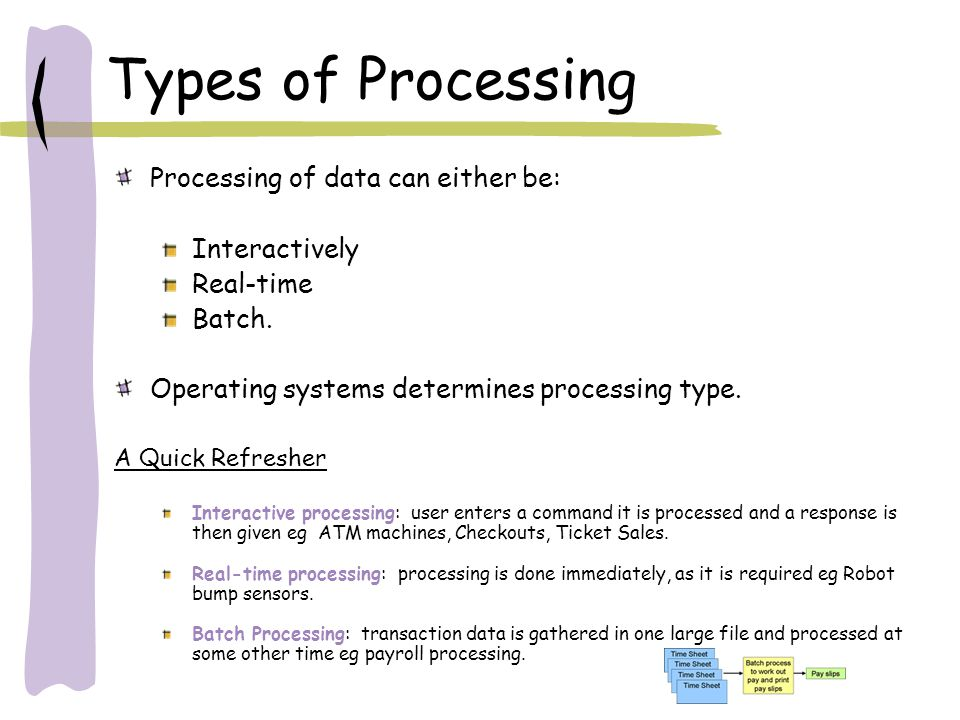 Types of Processing Processing of data can either be: Interactively
