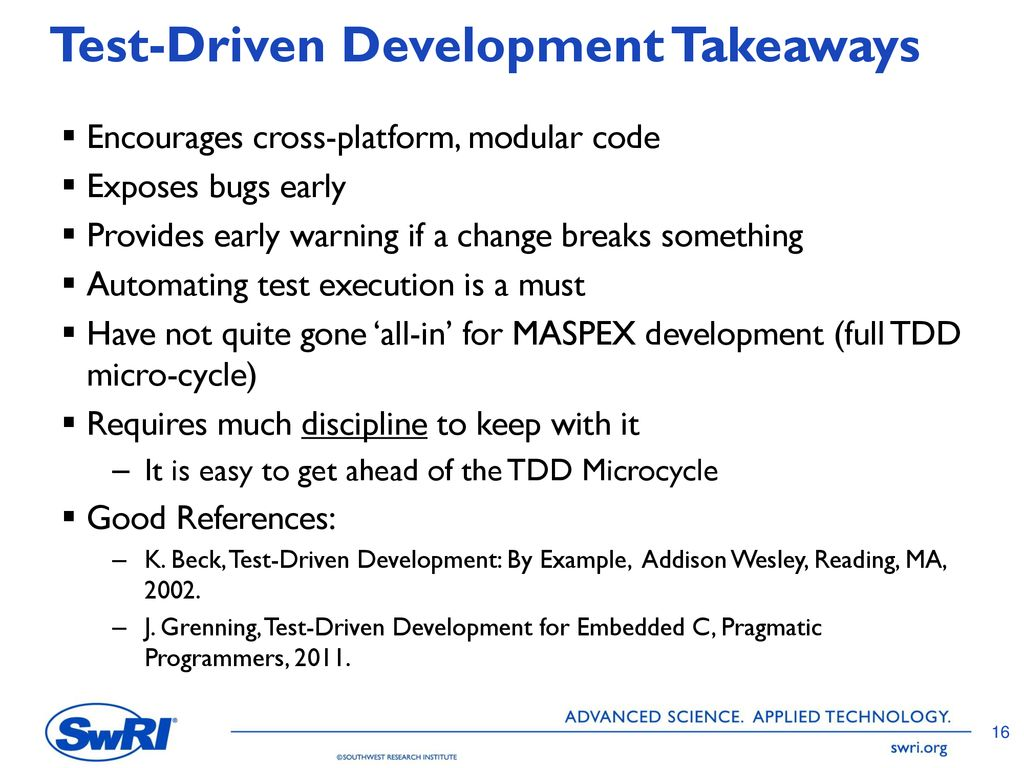 Robert Klar Greg Dunn Using a Test-Driven Development
