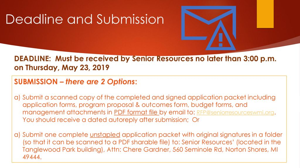 Proposal Workshop Application to Provide Services to the Aging