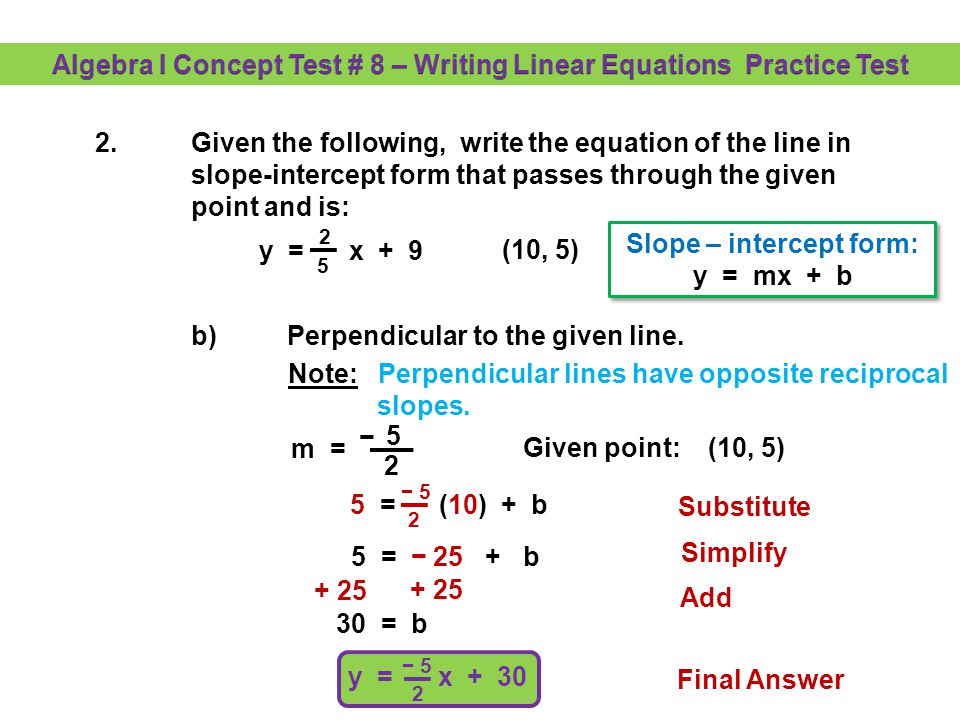 algebra i concept test 8 writing linear equations practice test rh slideplayer com Astronomy Equations 127 Functions Linear Equations and Inequalities
