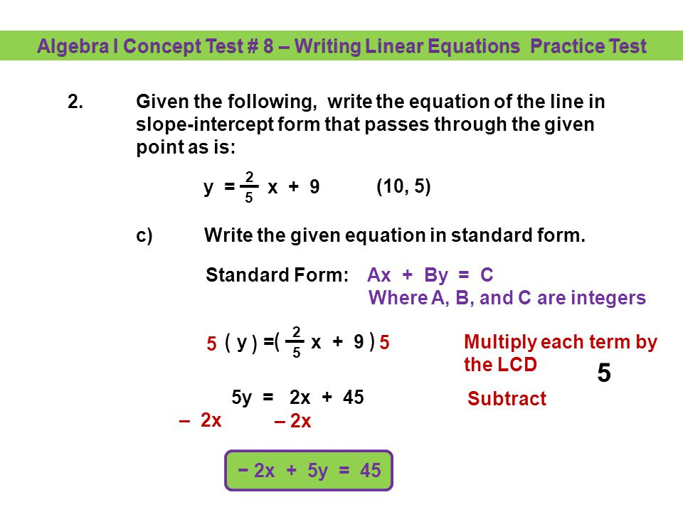 algebra i concept test 8 writing linear equations practice test rh slideplayer com Solving Quadratic Equations Test Linear Equations Test