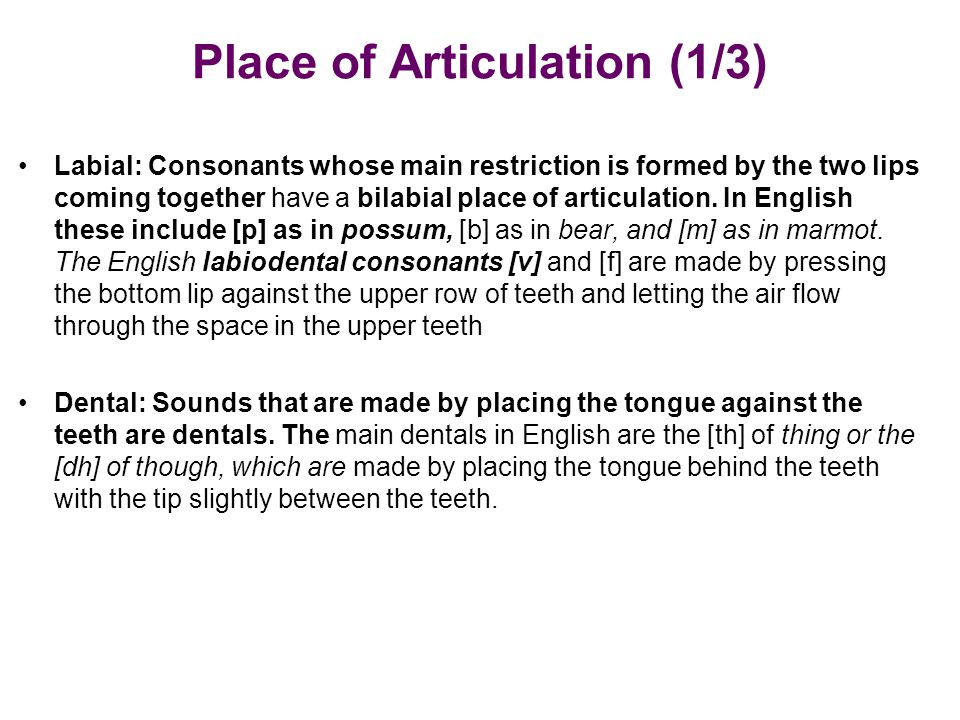 Place of Articulation (1/3)