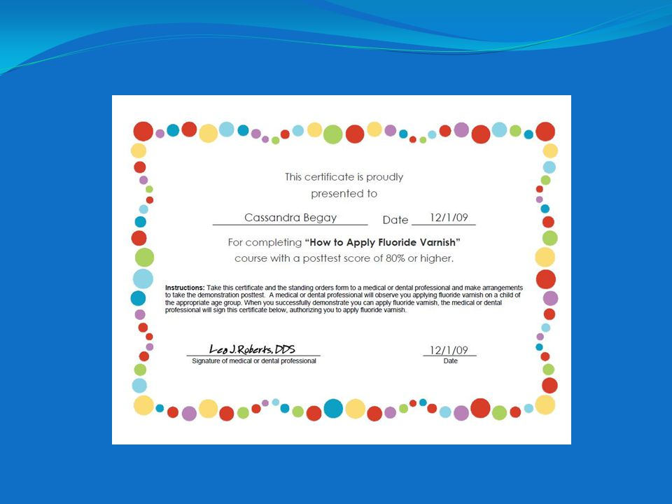 Here is a copy of a completed certificate.