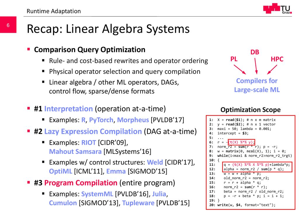 Architecture of ML Systems 04 Operator Fusion and Runtime Adaptation