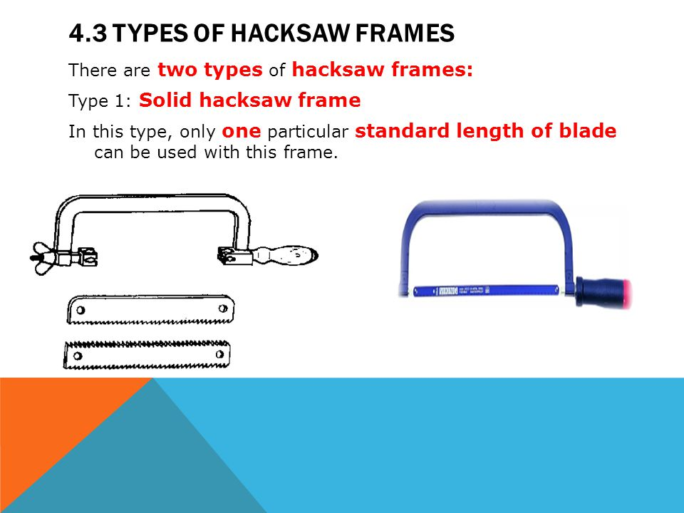 Module 4 hacksaws mechanical workshop ppt video online download 43 types of hacksaw frames greentooth Image collections