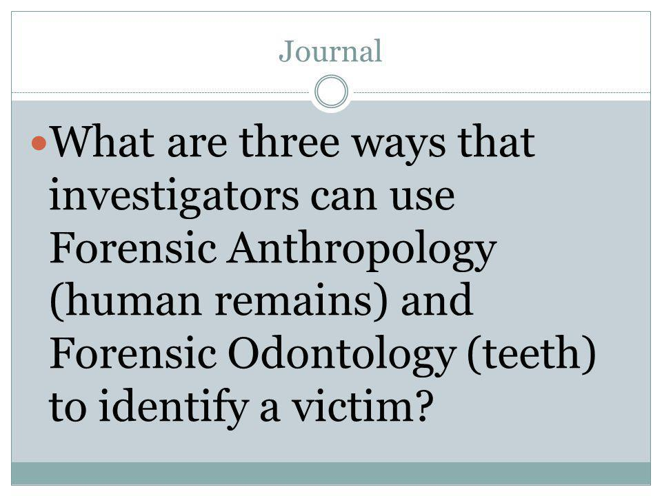 Journal What are three ways that investigators can use Forensic Anthropology (human remains) and Forensic Odontology (teeth) to identify a victim