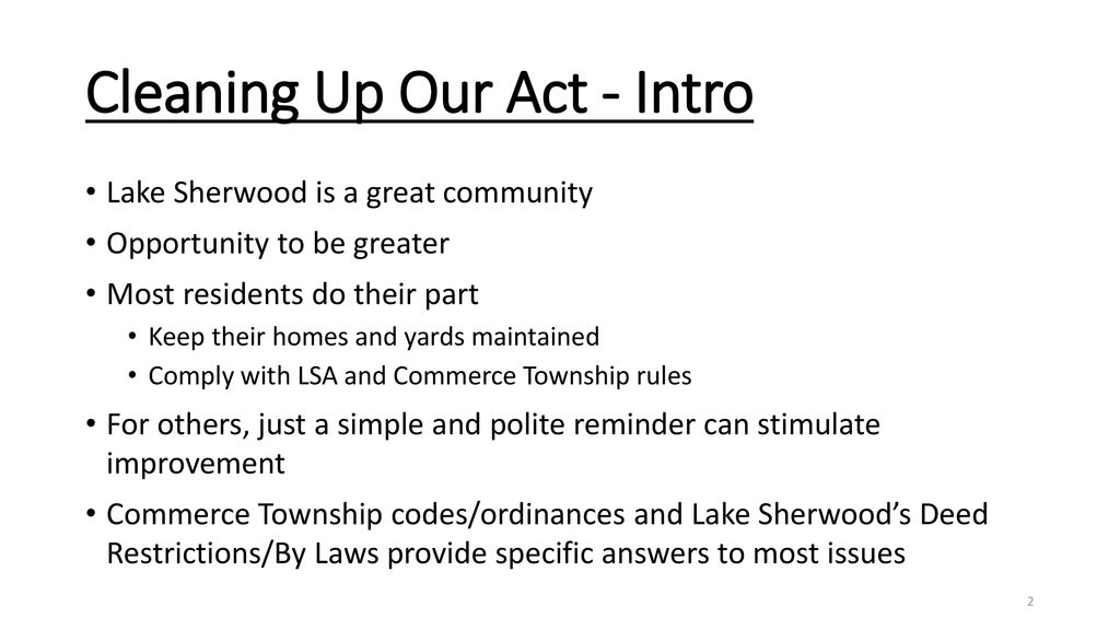 Lake Sherwood Association April 24, ppt download