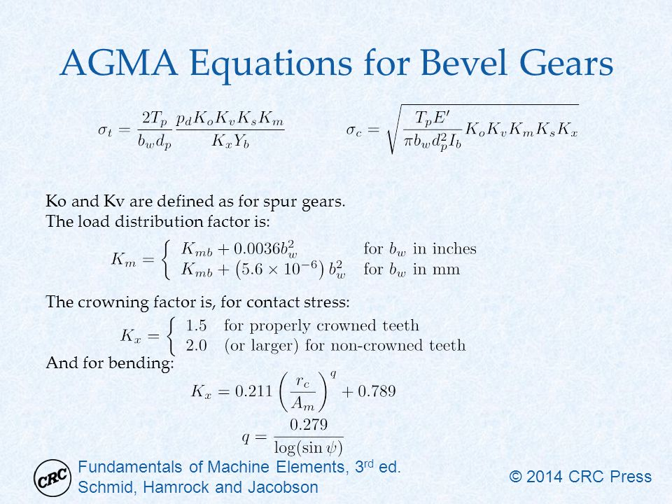 AGMA Equations for Bevel Gears