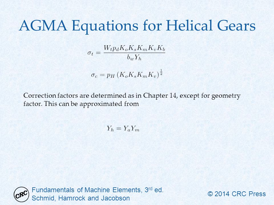 AGMA Equations for Helical Gears