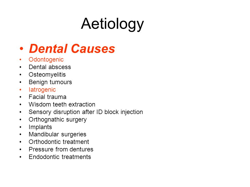Aetiology Dental Causes Odontogenic Dental abscess Osteomyelitis