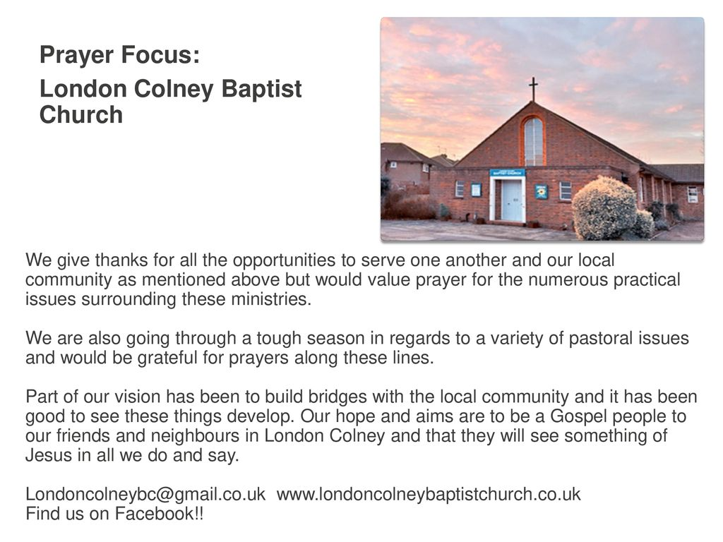 Prayer Focus: London Colney Baptist Church - ppt download