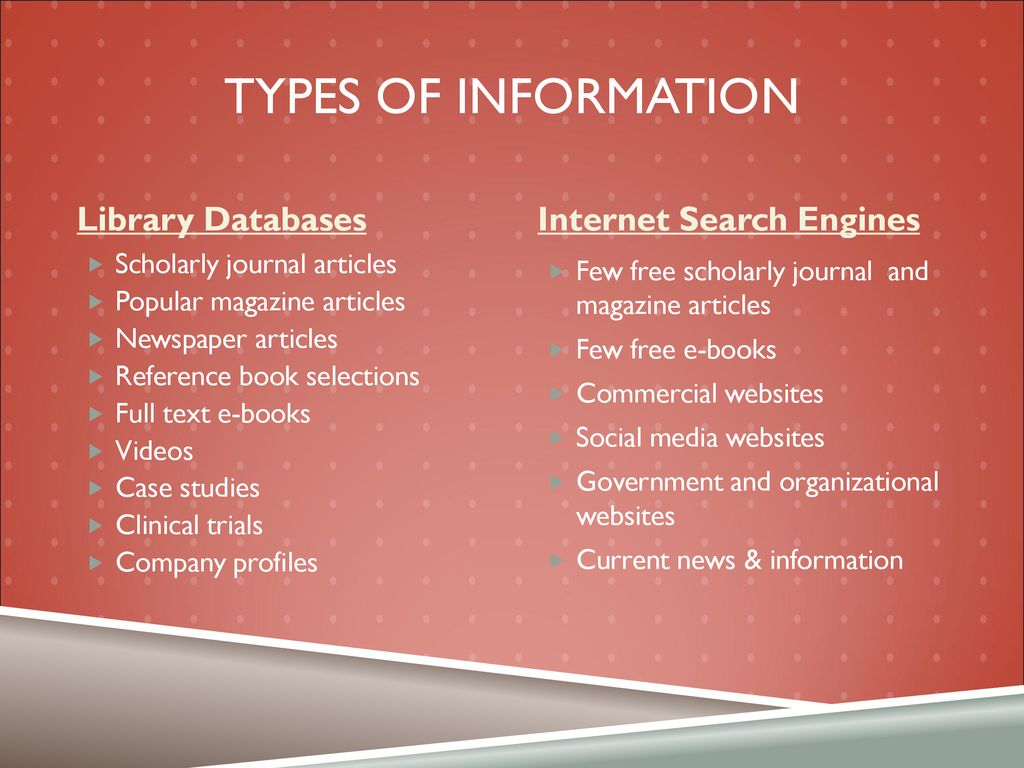 Library Databases v  search engines - ppt download