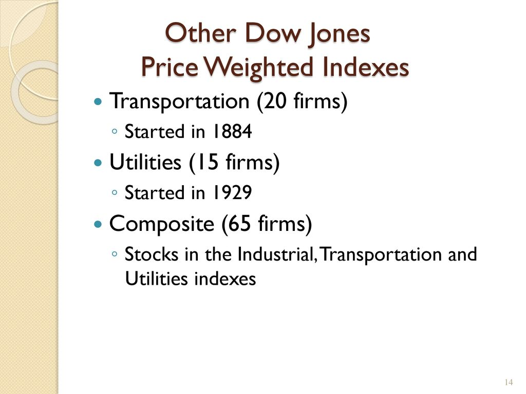 Stock Market Indexes If we want to know how the stock market