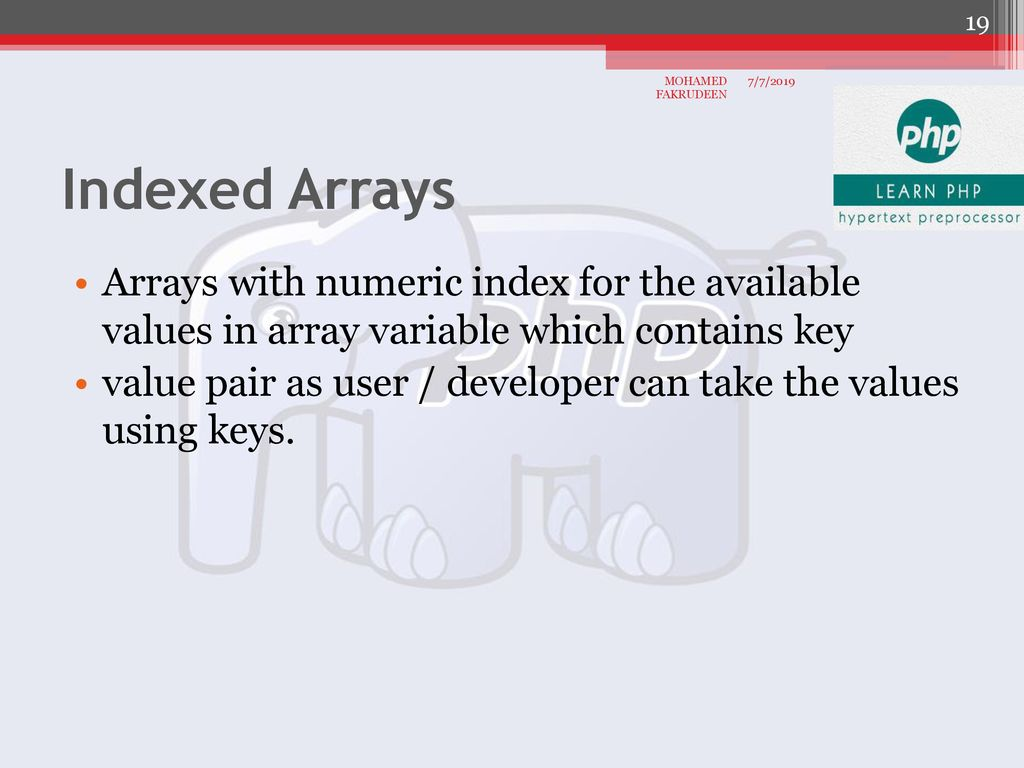 PHP Function and Array 05 CHAPTER Padasalai MOHAMED FAKRUDEEN - ppt