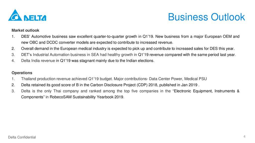 Delta Electronics (Thailand) PCL  Q1'19 Press Announcement