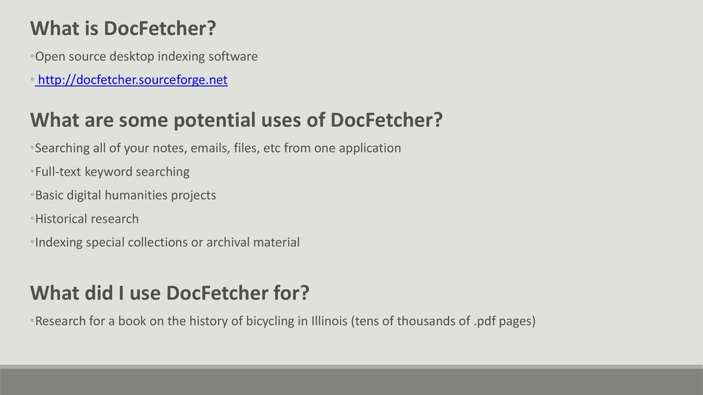 Build Your Own Research Database Using DocFetcher Open Source