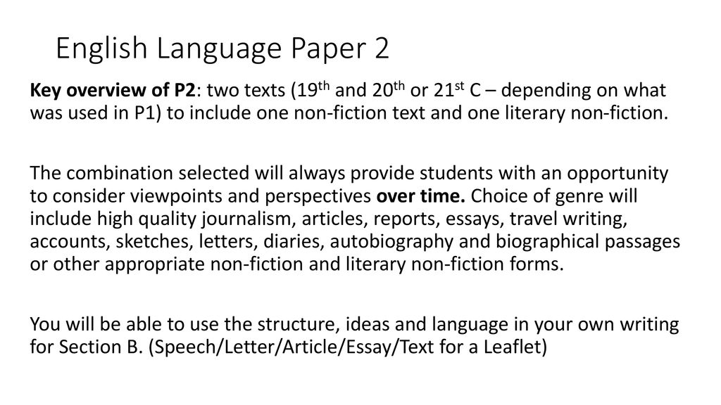 GCSE English Language Paper 2 Ppt Download
