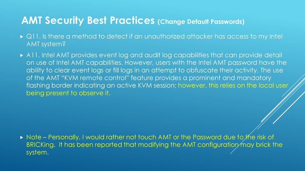 Overview - Security Implications of Intel's Active