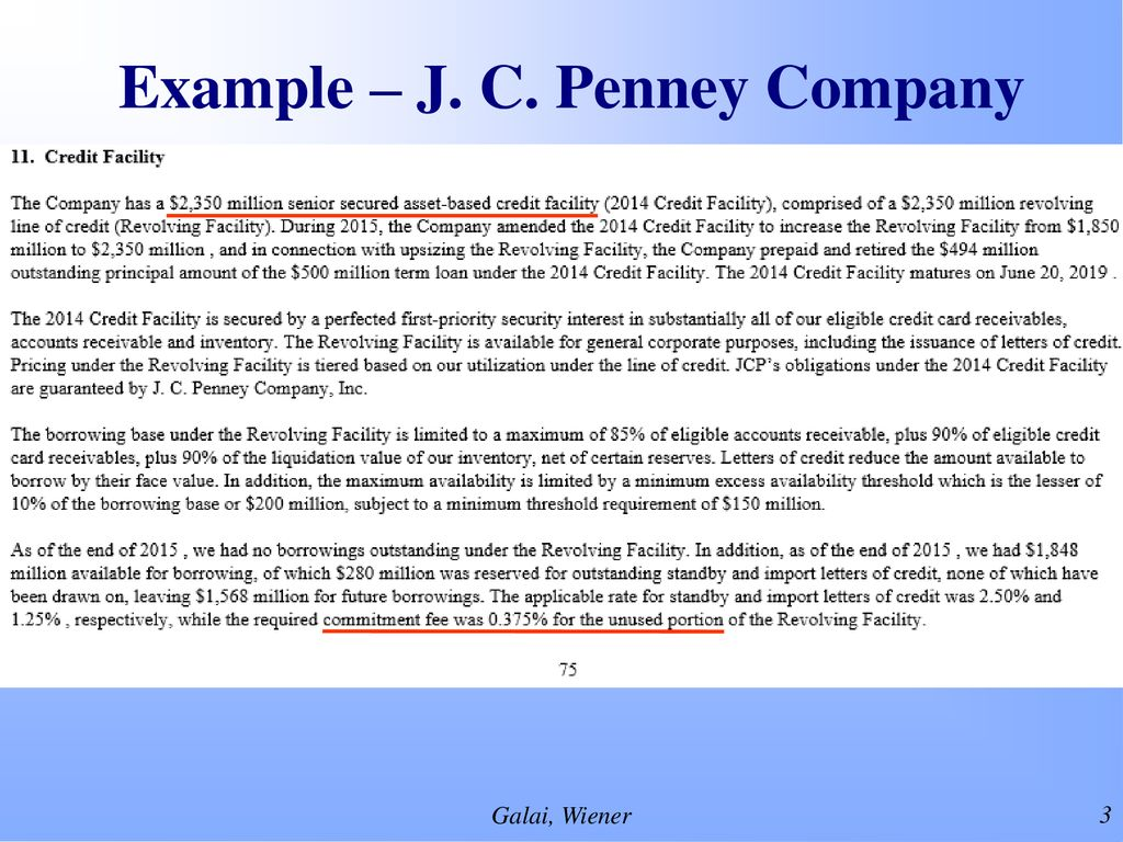 3 Example – J. C. Penney Company
