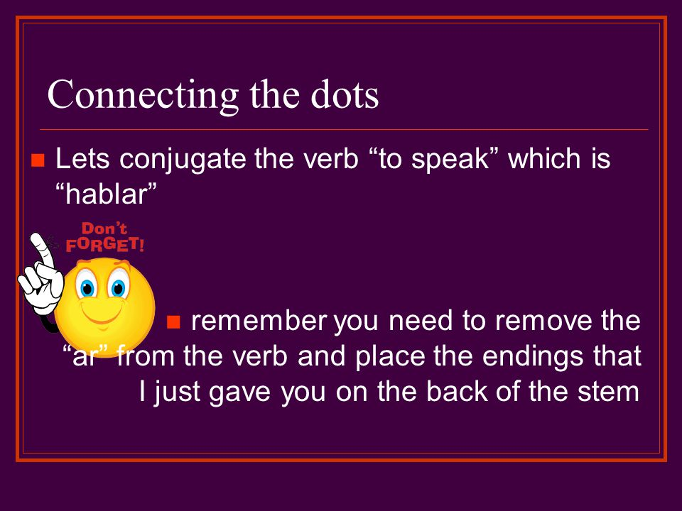 Connecting the dots Lets conjugate the verb to speak which is hablar