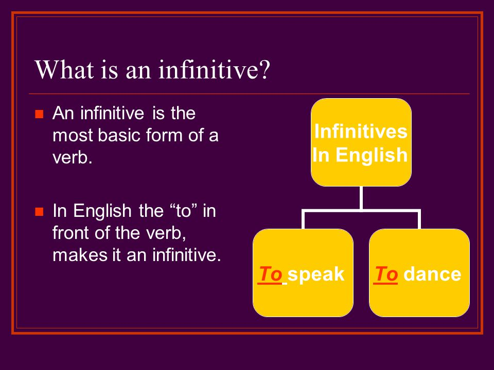 What is an infinitive An infinitive is the most basic form of a verb.