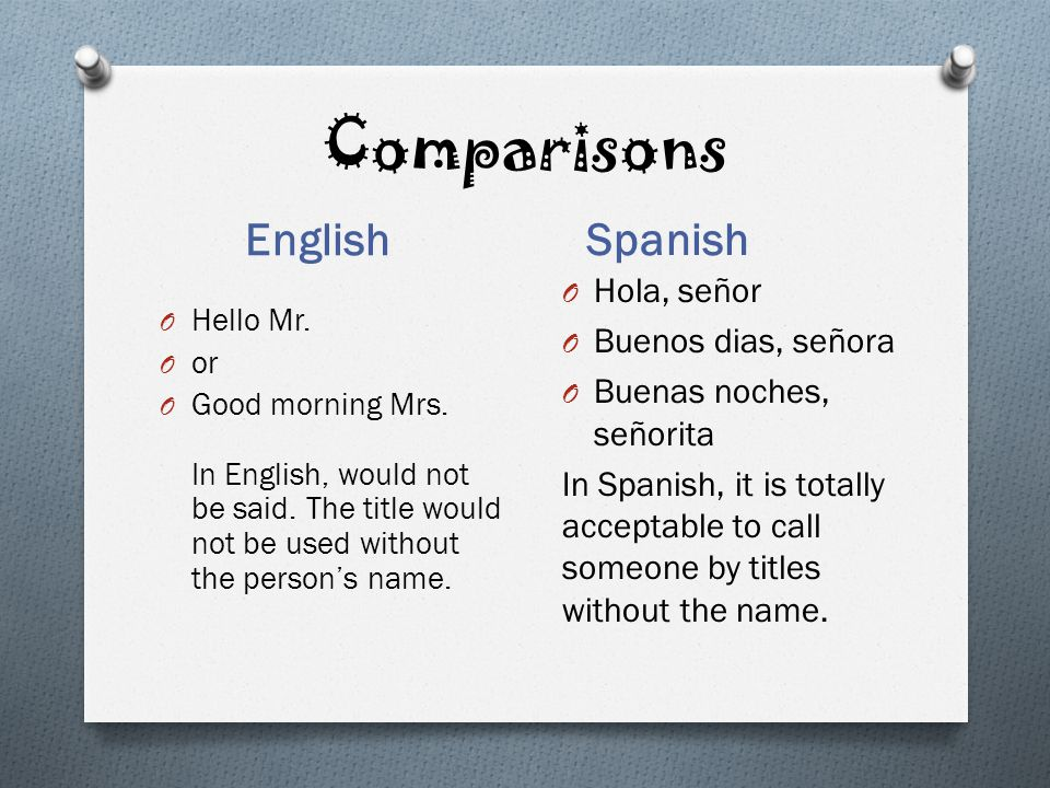 Greeting people spanish style ppt video online download comparisons english spanish hola seor buenos dias seora m4hsunfo