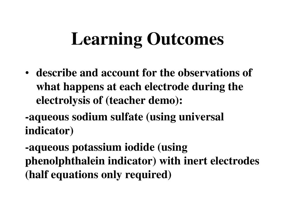 1 5c Learning Outcomes carry out an experiment to demonstrate the