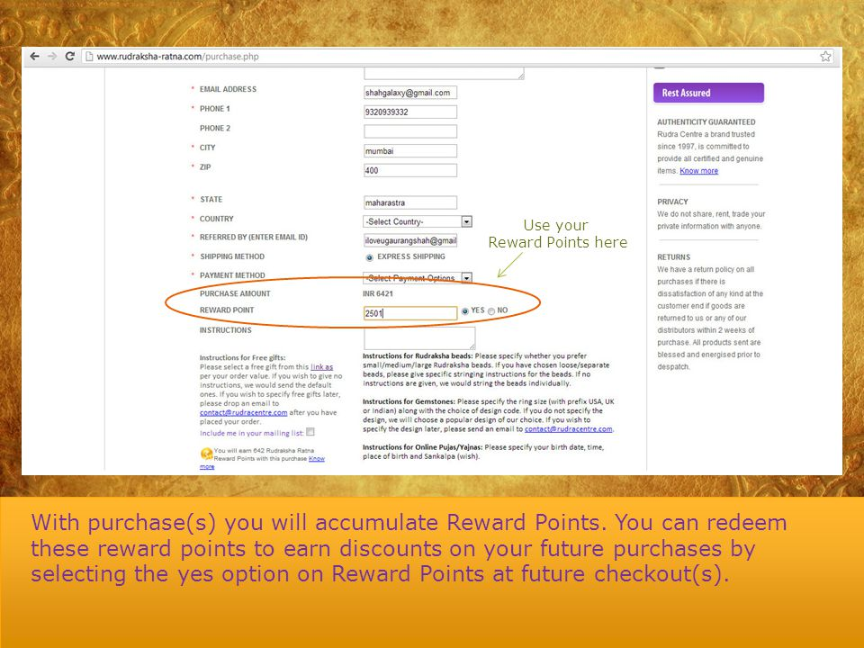 Rudraksha Ratna Reward Points - ppt download