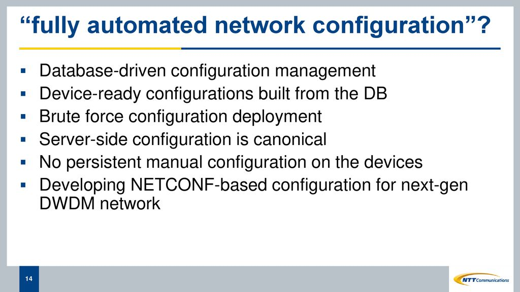 Configuration Management in the NTT Com Global IP Network