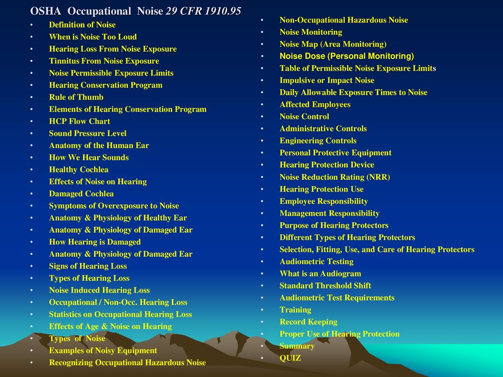 OSHA Occupational Noise 29 CFR - ppt download