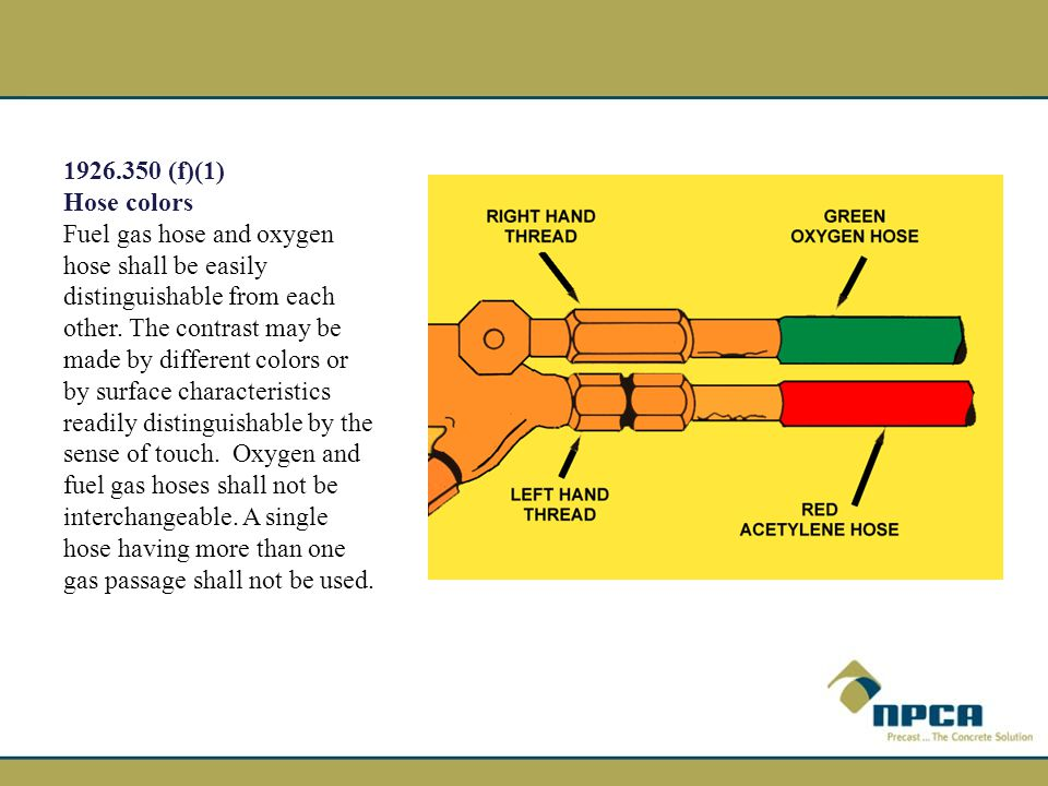 (f)(1) Hose colors. Fuel gas hose and oxygen hose shall be easily distinguishable from each other. The contrast may be.