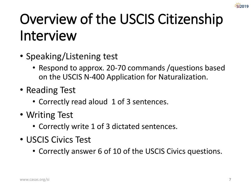 CASAS Assessments for Citizenship Preparation - ppt download