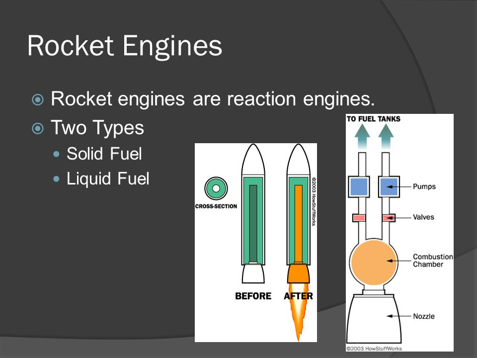 Rocket Engines Rocket engines are reaction engines. Two Types