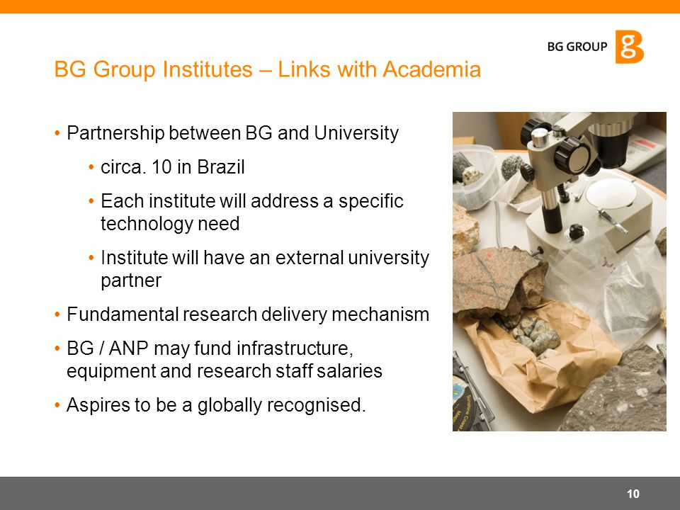 BG Group Institutes – Links with Academia