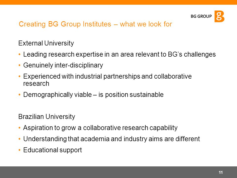 Creating BG Group Institutes – what we look for